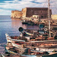 Greece, Crete, Fishing boats, Rossa al Mare Fine Art Print