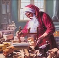 Santa In The Workshop Fine Art Print