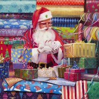 Santa All Wrapped Up Fine Art Print