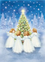 Christmas Tree and Gathering Angels Fine Art Print