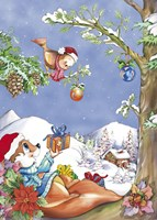 Squirrel and Bird Holiday Tree Fine Art Print