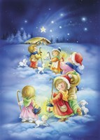 Little Shepherds Christmas Stroll Fine Art Print