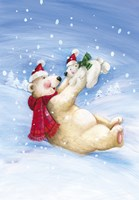 Polar Bears In Christmas Snow Fine Art Print