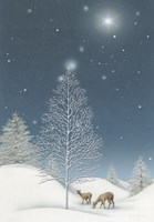 Snowy Winter TreeWith Star and Deer Fine Art Print