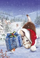 Kitten With Gift and Mistletoe Fine Art Print