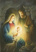 Mary and Joseph Glowing Manger Scene Fine Art Print