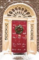 Red Door and Christmas Wreath Fine Art Print