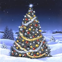 Christmas Tree and Glowing Lights Fine Art Print