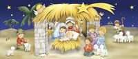 Mary Joseph and Children Manger Scene Fine Art Print