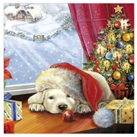 Puppy Snug and Christmas Tree Fine Art Print