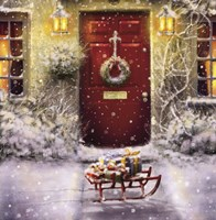 Red Door and White Christmas Fine Art Print