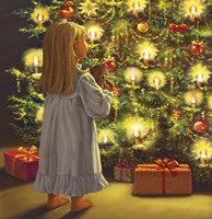 Little One and Bear Christmas Tree Look Fine Art Print