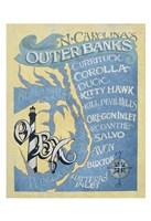 Outer Banks, North Carolina Beach Map Fine Art Print