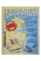 Delaware Beach Map Framed Print