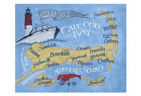 Cape Cod Beach Map Fine Art Print