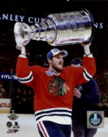 Andrew Shaw with the Stanley Cup Game 6 of the 2015 Stanley Cup Finals Fine Art Print