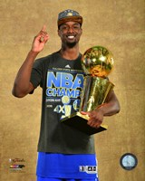 Harrison Barnes with the NBA Championship Trophy Game 6 of the 2015 NBA Finals Fine Art Print
