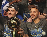 Klay Thompson & Stephen Curry with the NBA Championship Trophy Game 6 of the 2015 NBA Finals Fine Art Print
