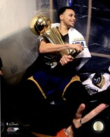 Stephen Curry with the NBA Championship Trophy Game 6 of the 2015 NBA Finals Fine Art Print