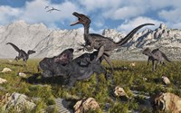 A Pack of Velociraptors Fine Art Print