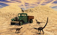 Velociraptors React Curiously to a 1930's American Pickup Truck Framed Print