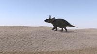Triceratops Walking across a Barren Landscape 3 Fine Art Print