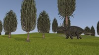 Triceratops Walking across a Grassy Field 1 Fine Art Print