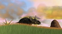 Triceratops Walking across a Grassy Field 3 Framed Print
