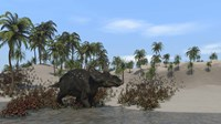 Triceratops Walking along the Shoreline 1 Fine Art Print