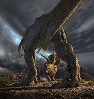 A Tyrannosaurus Rex and Triceratops in a Face Off Fine Art Print