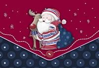 Santa And Rudolph's Blue Polkadot Hug Framed Print