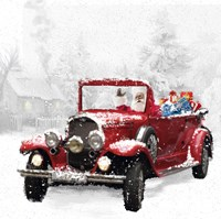 Santa's Red Classic Car Fine Art Print