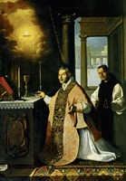 Holy Mass with Priest Cabañuelas. 1638 Fine Art Print
