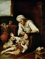Old Woman Cleaning a Boy's Hair Fine Art Print
