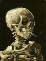 Skull with Burning Cigarette Fine Art Print
