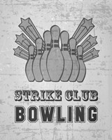 Strike Club Bowling - Gray Fine Art Print