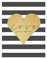 Faux Gold Love You More - Stripes Framed Print