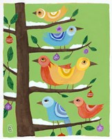Six Christmas Birds Fine Art Print
