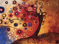 Tree Whimsy On Red Fine Art Print
