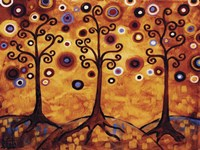 Tree Whimsy Of Three Orange Fine Art Print