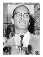Malcolm X at Microphones Fine Art Print