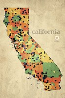 California County Map Framed Print