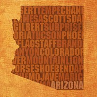 Arizona State Words Framed Print