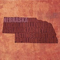 Nebraska State Words Fine Art Print
