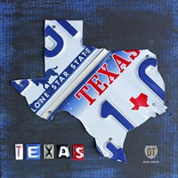 Texas License Plate Map Fine Art Print