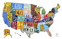 License Plate Map USA II Fine Art Print