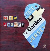 New Jersey License Plate Map Fine Art Print
