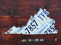 Virginia License Plate Map II Fine Art Print