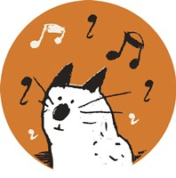 Orange Music Cat Fine Art Print