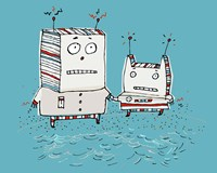 Robots On Beach Fine Art Print